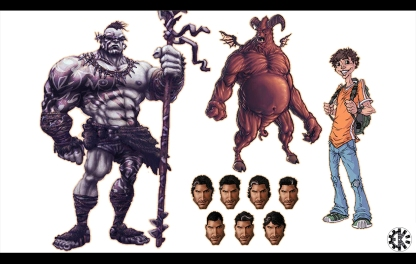 Multiple Character Design for commissioned or personnal work Pencil. Ink, Photoshop